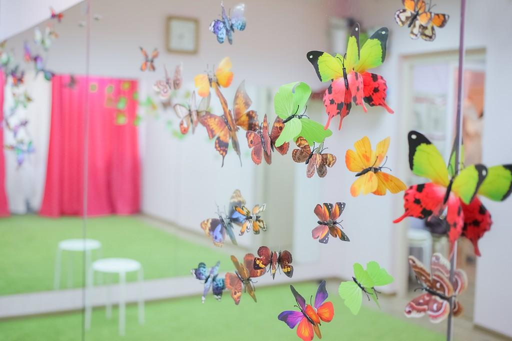 Бабочки на зеркале в танцевальной студии