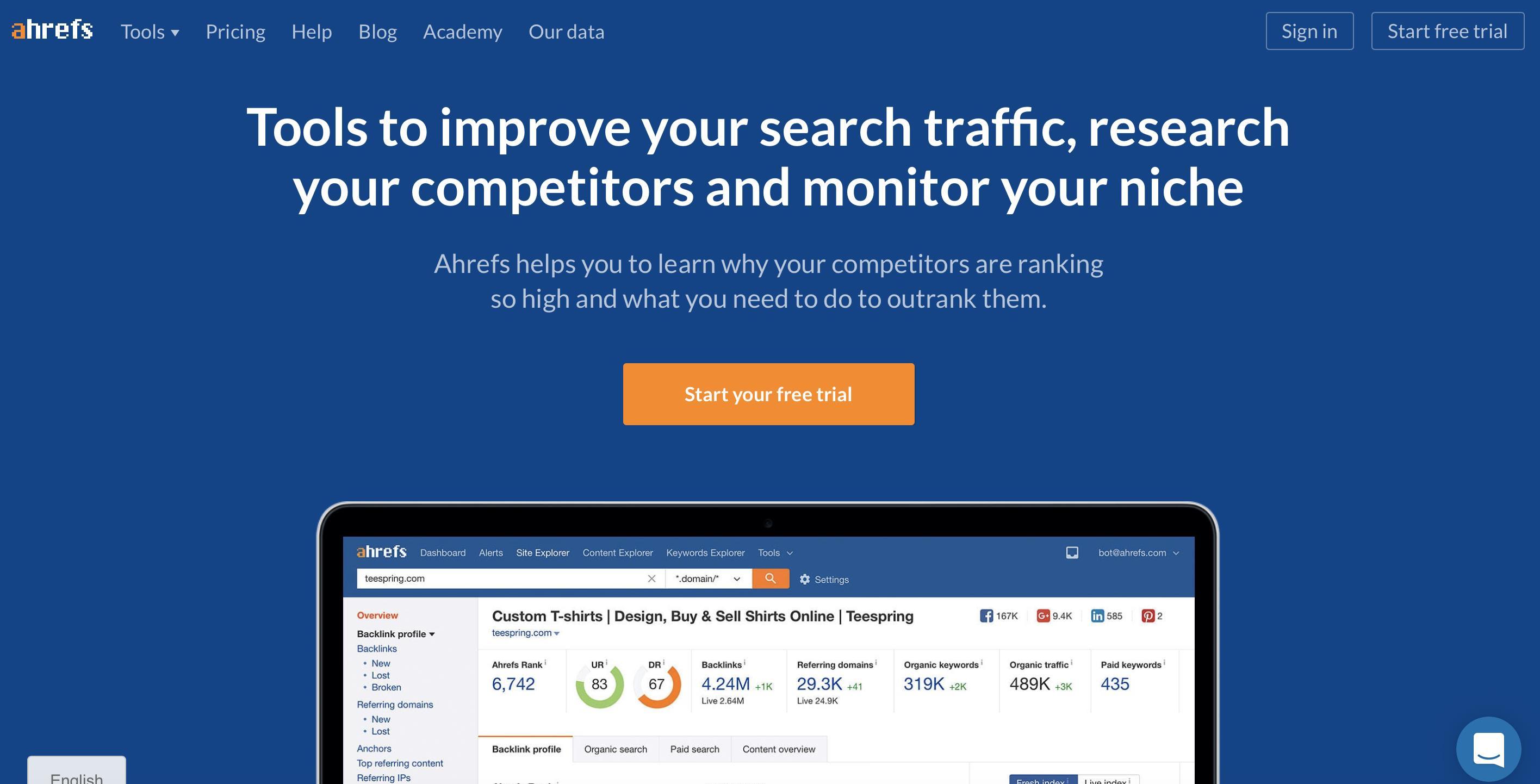 SEO. 5 эффективных инструментов продвижения вашего сайта в поисковых системах. ahrefs.com
